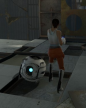 Wheatley compared in size to Chell.